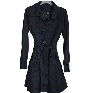 Black Jou Jou Premium Denim Modern Trench Coat M